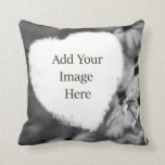 Soft Heart Shape Black and White Add Your Photo Throw Pillows