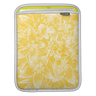 Soft  Hibiscus Lemon Yellow Floral Botanical Sleeves For iPads