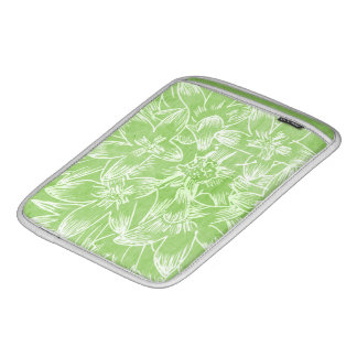 Soft  Hibiscus Lime Green Floral Botanical Sleeve For iPads