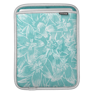 Soft  Hibiscus Peacock Blue Floral Sleeve For iPads