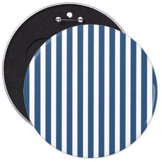 Soft Iris Blue and White Cabana Stripe Pattern 6 Inch Round Button
