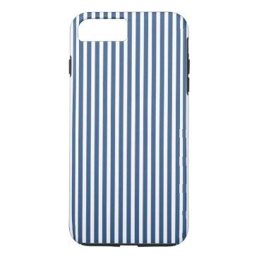 Beach Themed Soft Iris Blue and White Cabana Stripe Pattern iPhone 7 Plus Case