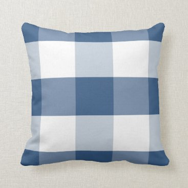 Beach Themed Soft Iris Blue & white reversible gingham plaid Throw Pillow