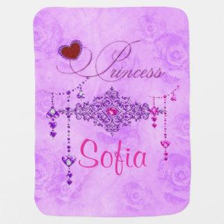 Soft Lavender Roses & Jewels Princess Baby Blanket