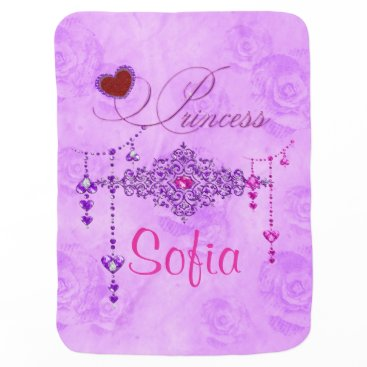 moondreamsmusic Soft Lavender Roses & Jewels Princess Baby Blanket