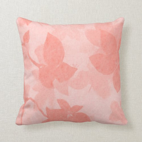 Soft-Leaves-Accent(c) Med-Pale Coral Throw Pillow