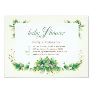 "Soft Leaves Girl Baby Shower Invitation 5.5"" X 7.5"" Invitation Card"
