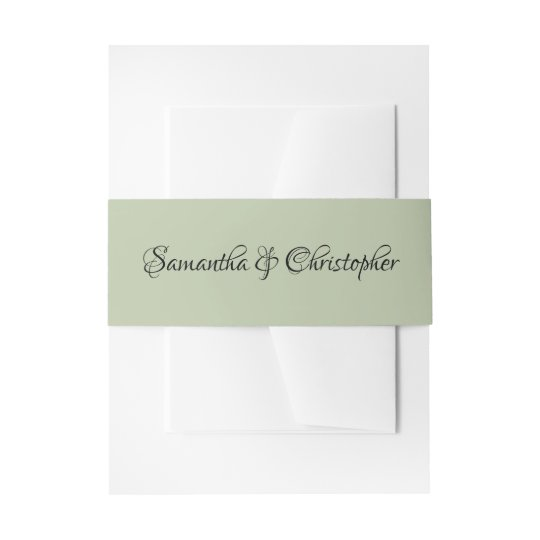 Soft Light Sage Green Personalized Calligraphy Invitation Belly Band
