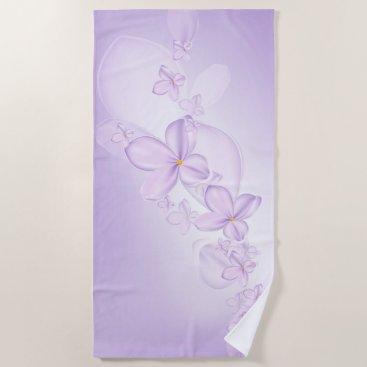 Beach Themed Soft Lilac Flowers Beach Towel