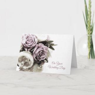 Soft Lilac Rose Bouquet, Wedding Congratulations Card