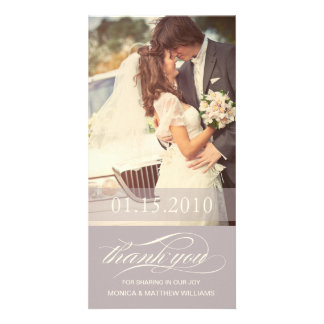 SOFT LILAC SCRIPT THANKS   WEDDING THANK YOU CARD PHOTO CARD