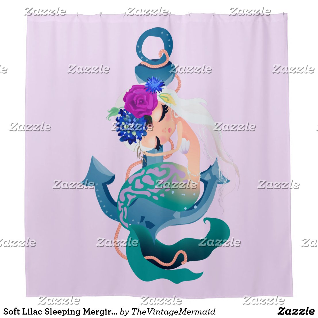Soft Lilac Sleeping Mergirl Mermaid Shower Curtain