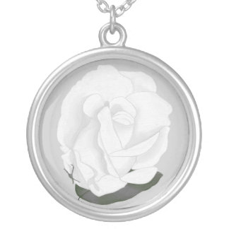 Soft Look White Rose Gray Leaf  Necklaces