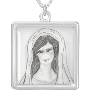 Soft Mary Square Pendant Necklace