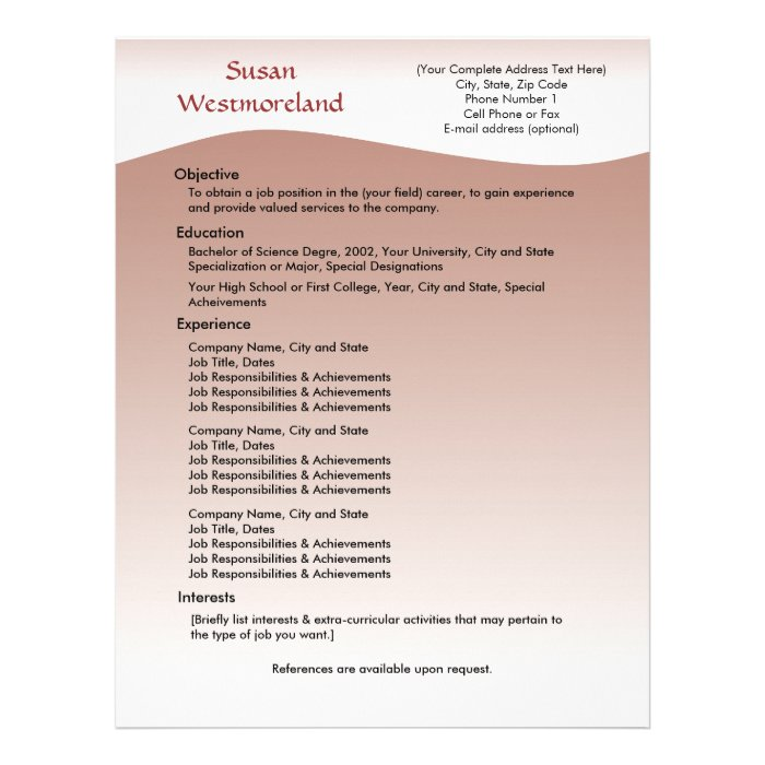 soft mauve custom resume template letterhead zazzle
