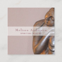 Soft Mauve Peaceful Healing Buddha Square Business Card