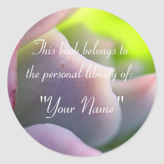 Soft Mauve Succulent Personal Library Sticker