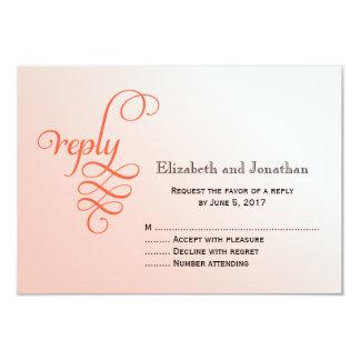 Soft Melon Curly Script Wedding Reply Card