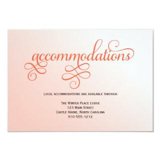 Soft Melon Script Wedding Accommodations Card