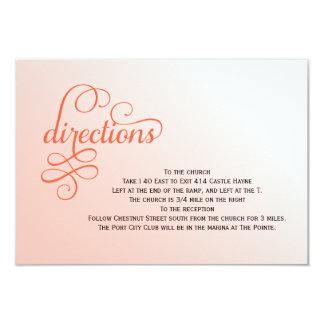 Soft Melon Script Wedding Directions Cards
