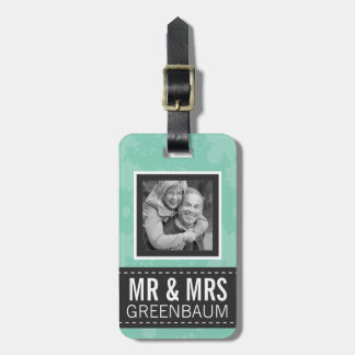 Soft Mint and Gray Mr and Mrs Personalized Photo Luggage Tag
