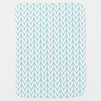 Soft Mint Yarn Chevrons Knit Pattern Customizable Stroller Blanket