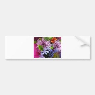 Soft mix flowers car bumper sticker