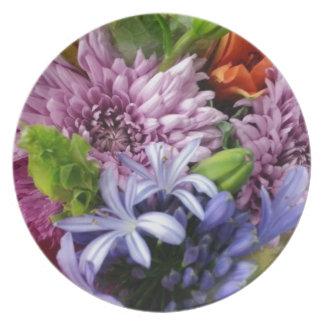 Soft mix flowers melamine plate