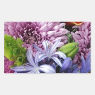 Soft mix flowers rectangular sticker