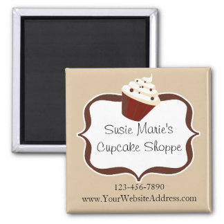 Soft Mocha Stripes Personalized Cupcake Magnet