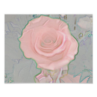 Soft Modern Abstract Personalizable Pink Rose Poster