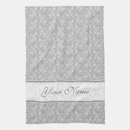 Soft Modern White&Grey Named Damask Hand Towel