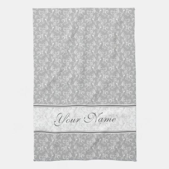 Soft Modern White&Grey Named Damask Kitchen Towel