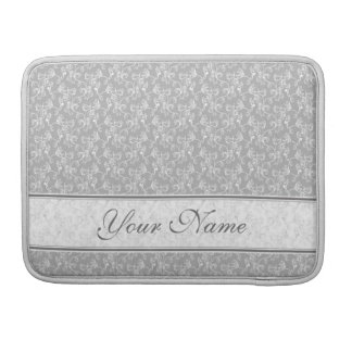Soft Modern White&Grey Named Damask Sleeve For MacBook Pro