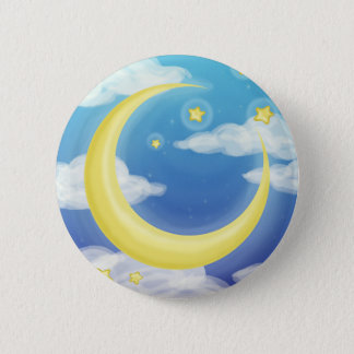 Soft Moon on Blue Button