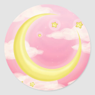 Soft Moon on Pink Classic Round Sticker