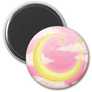 Soft Moon on Pink 2 Inch Round Magnet