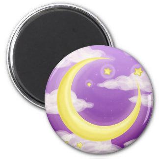 Soft Moon on Purple 2 Inch Round Magnet