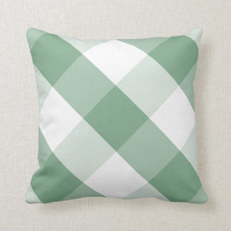 Soft Moss Green & white reversible gingham Pattern Throw Pillow