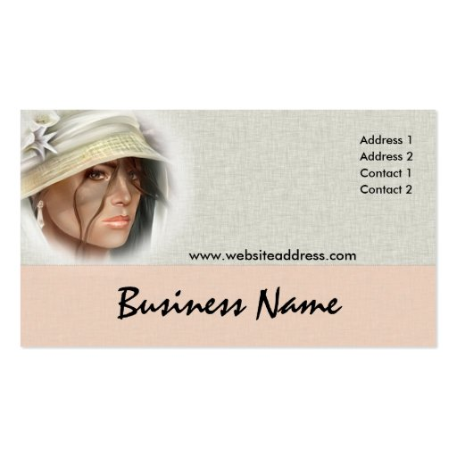 Soft mystery woman business cards zazzle for Business cards for women