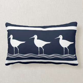 soft navy  Sand Pipers on  white  PILLOW