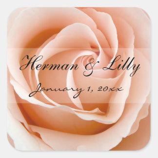 Soft Orange Rose Personalized Wedding Square Sticker