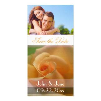 "Soft Orange Rose  /photo  ""Save the Date"" Custom Photo Card"