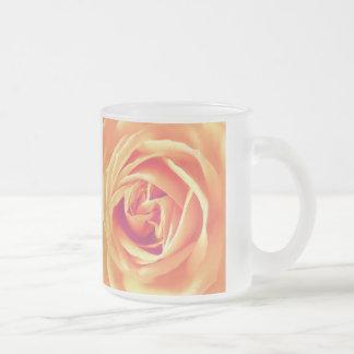 Soft orange rose print frosted glass coffee mug