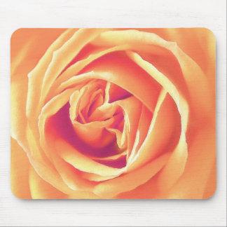 Soft orange rose print mouse pad