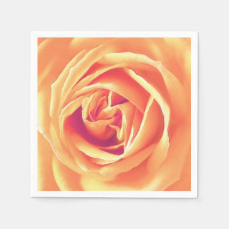 Soft orange rose print paper napkin