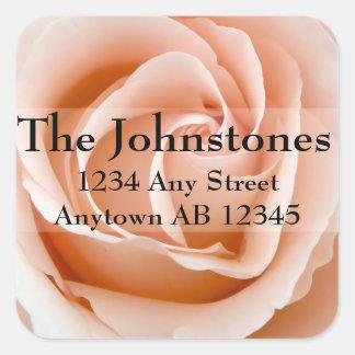 Soft Orange Rose Wedding Return Address Label Square Sticker
