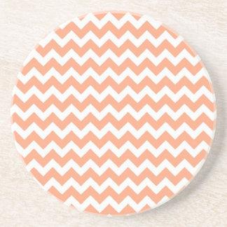 Soft Orange Zig Zag Chevron Sandstone Coaster