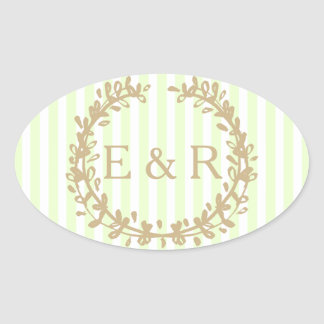 Soft Pale Celery Green Pastel Wreath and Sprig Oval Sticker