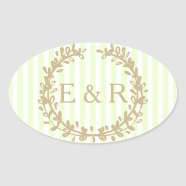 Beach Themed Soft Pale Celery Green Pastel Wreath and Sprig Oval Sticker